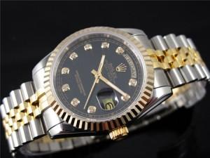 Swiss-Rolex-Day-Date-Diamonds-Number-18k-2tone-Black-Dial-ETA-Movement-Replica-Watch